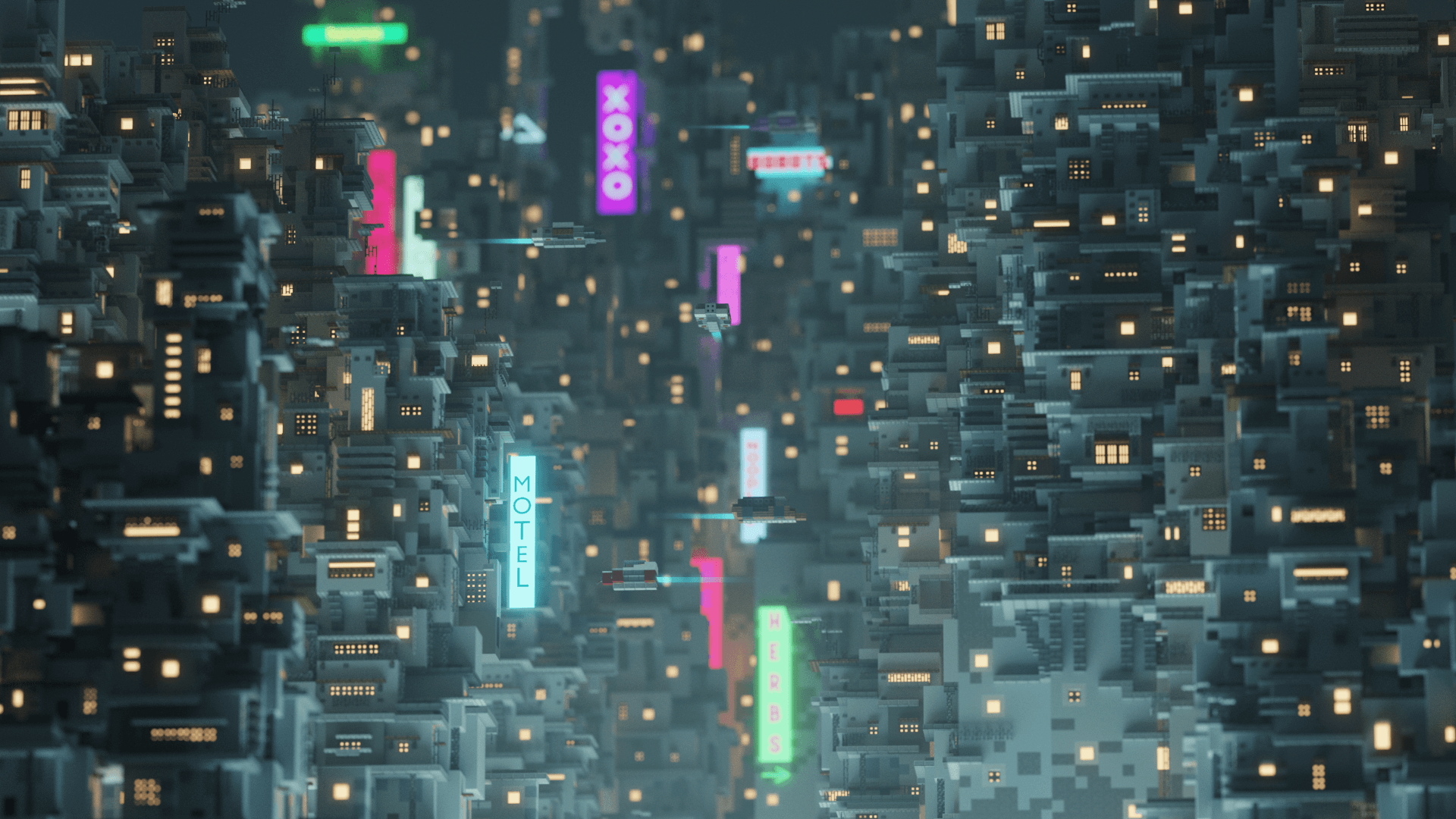 Minecraft - игрок создает невероятную сцену киберпанка 1