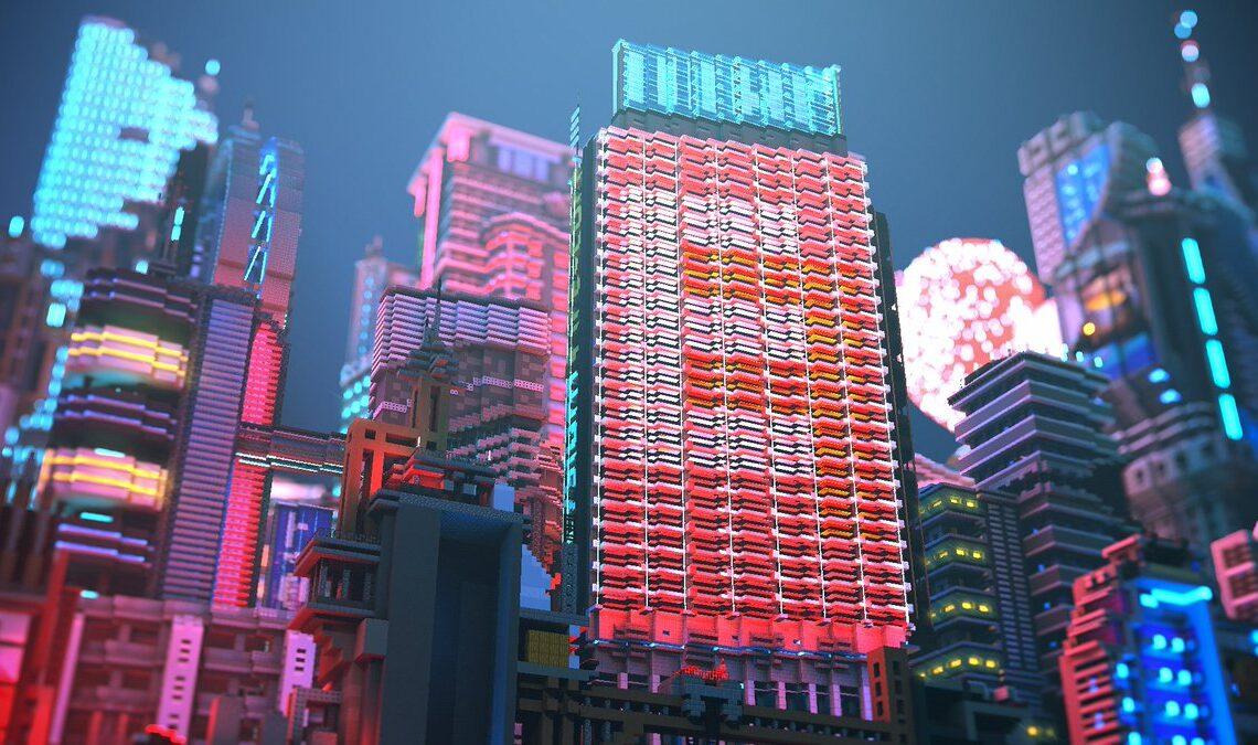 Minecraft - игрок создает невероятную сцену киберпанка