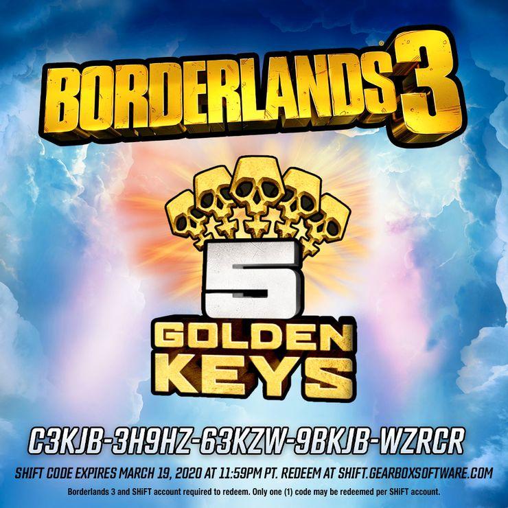 Borderlands 3 предоставляет 5 золотых ключей
